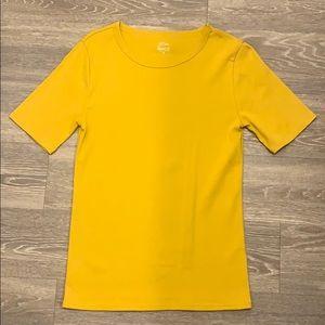 Yellow J. Crew 1/3 Sleeve Tee